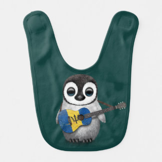 Baby Penguin Playing Barbados Flag Guitar Teal Bib