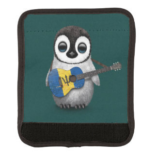 Baby Penguin Playing Barbados Flag Guitar Teal Handle Wrap