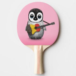 Baby Penguin Playing Belgian Flag Guitar Pink