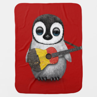 Baby Penguin Playing Belgian Flag Guitar Red Baby Blanket
