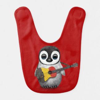 Baby Penguin Playing Belgian Flag Guitar Red Bib