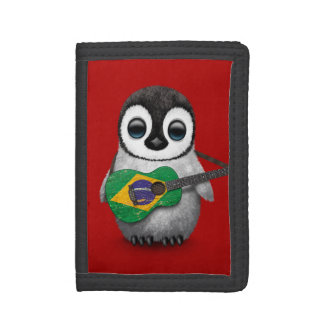Baby Penguin Playing Brazilian Flag Guitar Red Tri-fold Wallet