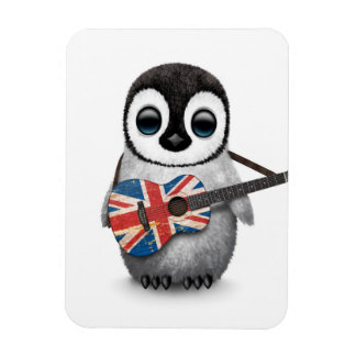 Baby Penguin Playing British Flag Guitar Magnet