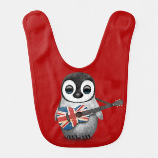 Baby Penguin Playing British Flag Guitar Red Baby Bibs