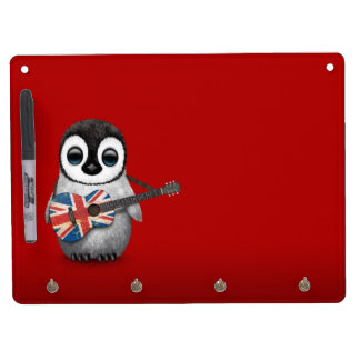 Baby Penguin Playing British Flag Guitar Red Dry Erase Board With Key Ring Holder