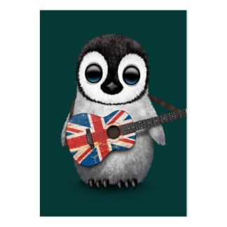Baby Penguin Playing British Flag Guitar Teal Business Card Template