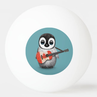 Baby Penguin Playing Canadian Flag Guitar Blue Ping Pong Ball