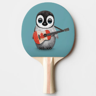 Baby Penguin Playing Canadian Flag Guitar Blue Ping Pong Paddle