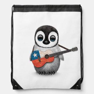 Baby Penguin Playing Chilean Flag Guitar Drawstring Bag