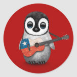 Baby Penguin Playing Chilean Flag Guitar Red Round Sticker