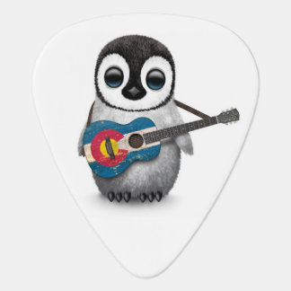 Baby Penguin Playing Colorado Flag Guitar Guitar Pick