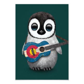 Baby Penguin Playing Colorado Flag Guitar Teal 9 Cm X 13 Cm Invitation Card