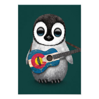 Baby Penguin Playing Colorado Flag Guitar Teal Invites