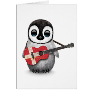 Baby Penguin Playing Danish Flag Guitar Card