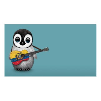 Baby Penguin Playing Ecuadorian Flag Guitar Blue Pack Of Standard Business Cards