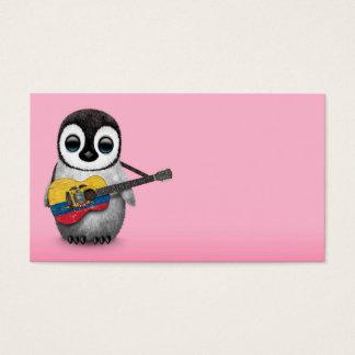 Baby Penguin Playing Ecuadorian Flag Guitar Pink