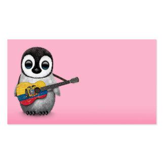 Baby Penguin Playing Ecuadorian Flag Guitar Pink Pack Of Standard Business Cards