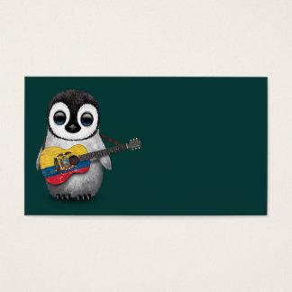 Baby Penguin Playing Ecuadorian Flag Guitar Teal
