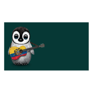 Baby Penguin Playing Ecuadorian Flag Guitar Teal Pack Of Standard Business Cards