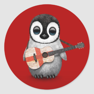 Baby Penguin Playing English Flag Guitar Red Round Sticker