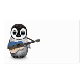 Baby Penguin Playing Estonian Flag Guitar Pack Of Standard Business Cards
