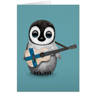 Baby Penguin Playing Finnish Flag Guitar Blue Card
