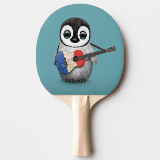 Baby Penguin Playing French Flag Guitar Blue
