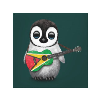 Baby Penguin Playing Guyana Flag Guitar Teal Stretched Canvas Print