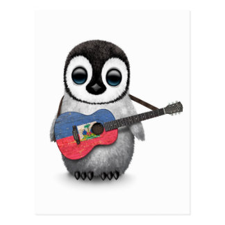Baby Penguin Playing Haitian Flag Guitar Postcard
