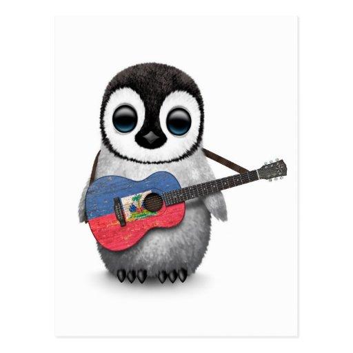 Baby Penguin Playing Haitian Flag Guitar Postcard