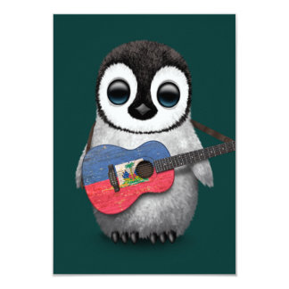 Baby Penguin Playing Haitian Flag Guitar Teal 9 Cm X 13 Cm Invitation Card