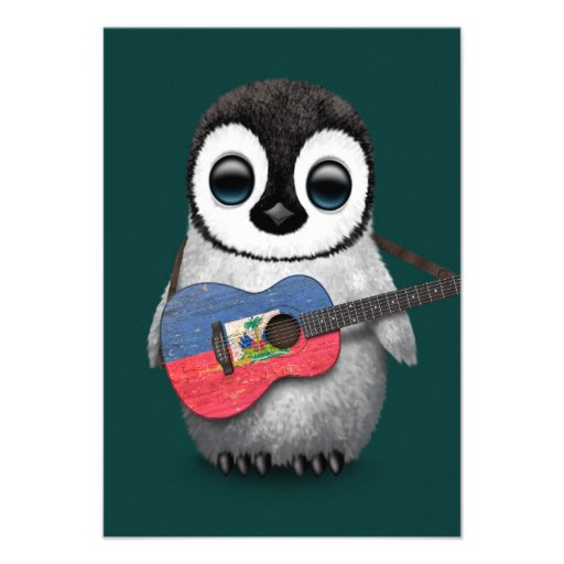 Baby Penguin Playing Haitian Flag Guitar Teal Custom Invite