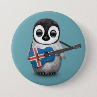 Baby Penguin Playing Icelandic Flag Guitar Blue 7.5 Cm Round Badge