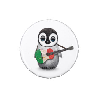 Baby Penguin Playing Italian Flag Guitar Jelly Belly Tin