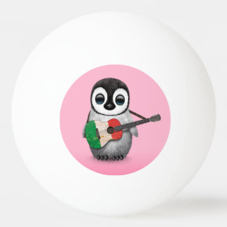 Baby Penguin Playing Italian Flag Guitar Pink