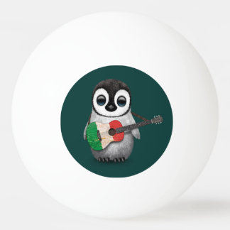 Baby Penguin Playing Italian Flag Guitar Teal