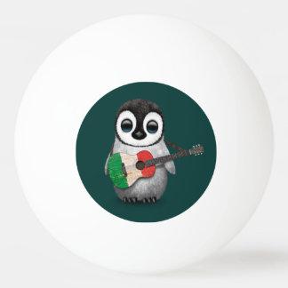 Baby Penguin Playing Italian Flag Guitar Teal Ping-Pong Ball