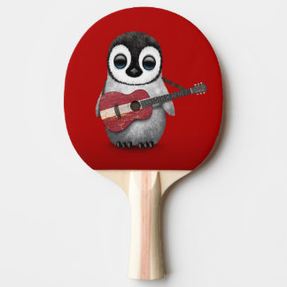 Baby Penguin Playing Latvian Flag Guitar Red Ping Pong Paddle