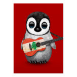 Baby Penguin Playing Lebanese Flag Guitar Red Pack Of Chubby Business Cards