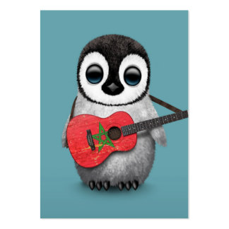 Baby Penguin Playing Morocco Flag Guitar Blue Business Card Templates