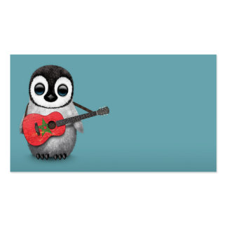 Baby Penguin Playing Morocco Flag Guitar Blue Business Card Template