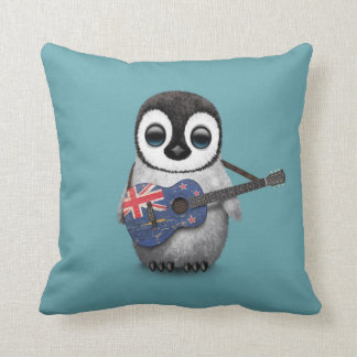 Baby Penguin Playing New Zealand Flag Guitar Blue Cushion