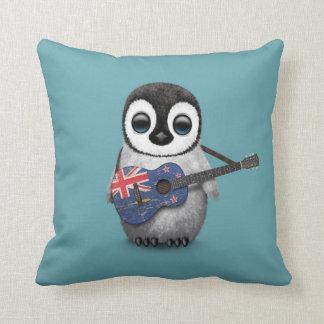 Baby Penguin Playing New Zealand Flag Guitar Blue Throw Pillow