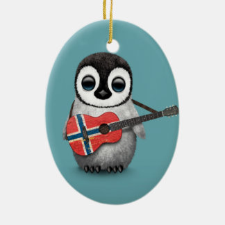 Baby Penguin Playing Norwegian Flag Guitar Blue Ceramic Oval Decoration