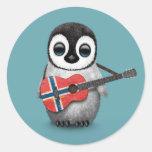 Baby Penguin Playing Norwegian Flag Guitar Blue Round Sticker
