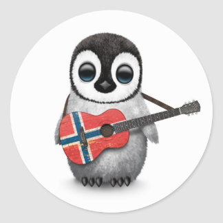 Baby Penguin Playing Norwegian Flag Guitar Round Sticker