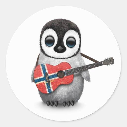 Baby Penguin Playing Norwegian Flag Guitar Sticker