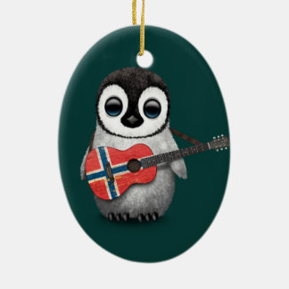 Baby Penguin Playing Norwegian Flag Guitar Teal Ceramic Oval Decoration