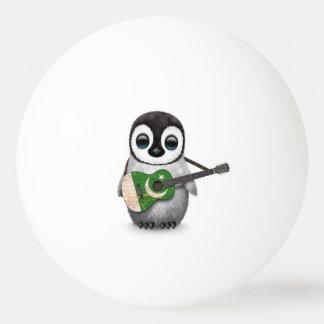 Baby Penguin Playing Pakistani Flag Guitar