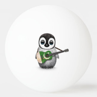 Baby Penguin Playing Pakistani Flag Guitar Ping Pong Ball